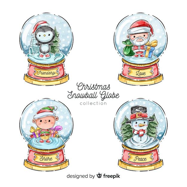 Christmas snowball globe collection Free Vector