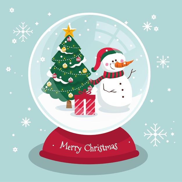 フラットなデザインのクリスマススノーボールグローブ 無料ベクター