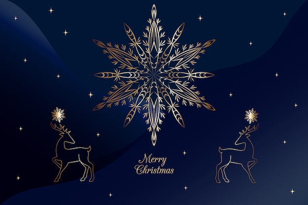 Christmas snowflake fireworks blue background in outline style Free Vector