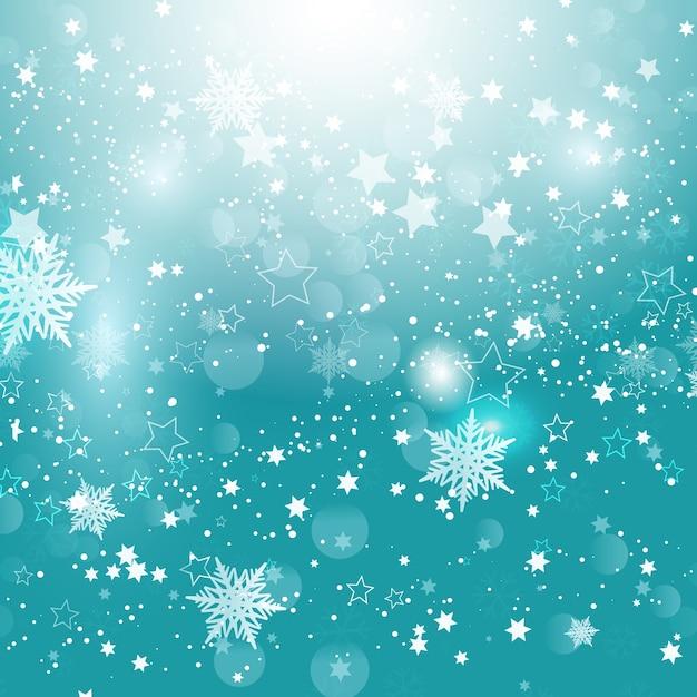Christmas snowflakes and stars Free Vector