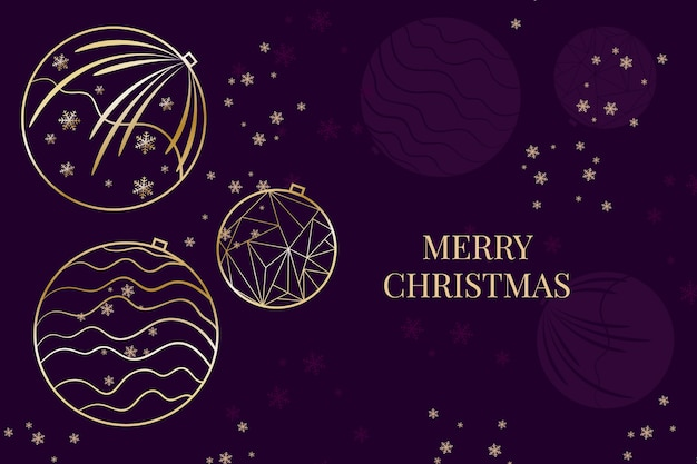 Christmas snowflakes and balls background in outline style Free Vector