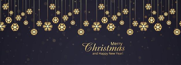 Christmas snowflakes card banner Free Vector