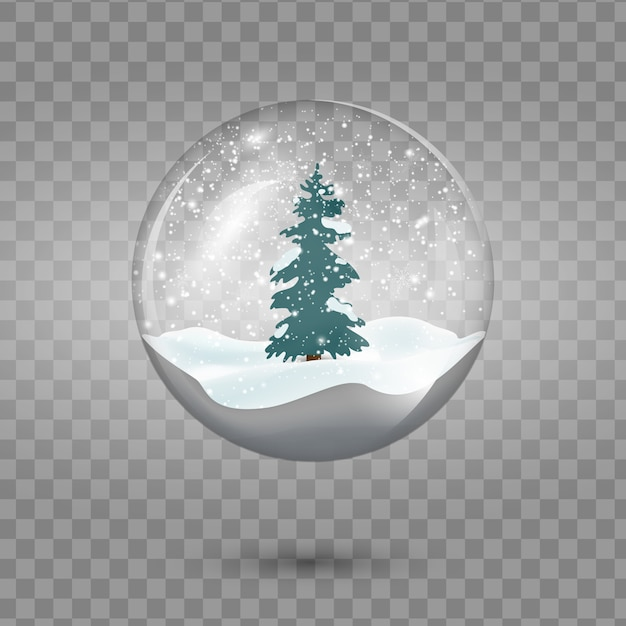 Christmas  snowglobe with tree isolated on transparent background. Premium Vector