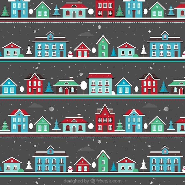 Christmas Snowing Landscape Pattern