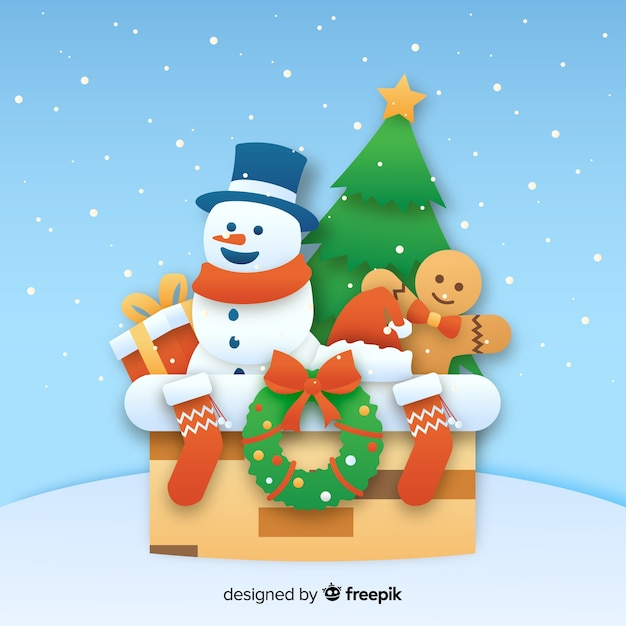 Christmas snowman background in paper style Free Vector