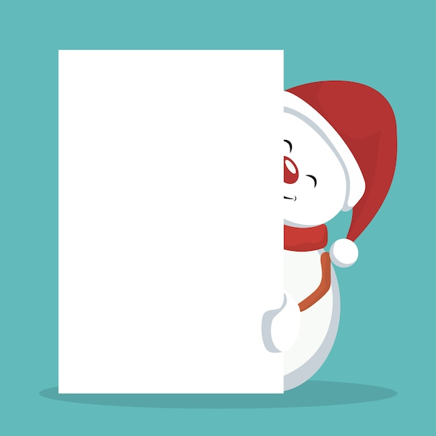 Christmas snowman card with white sign to write Premium Vector