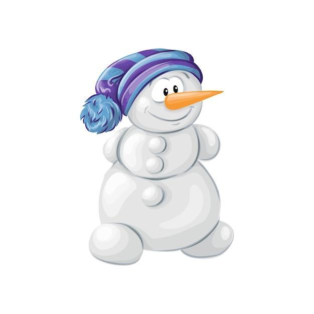Рождественский снеговик, изолированных на белом фоне | Премиум векторы