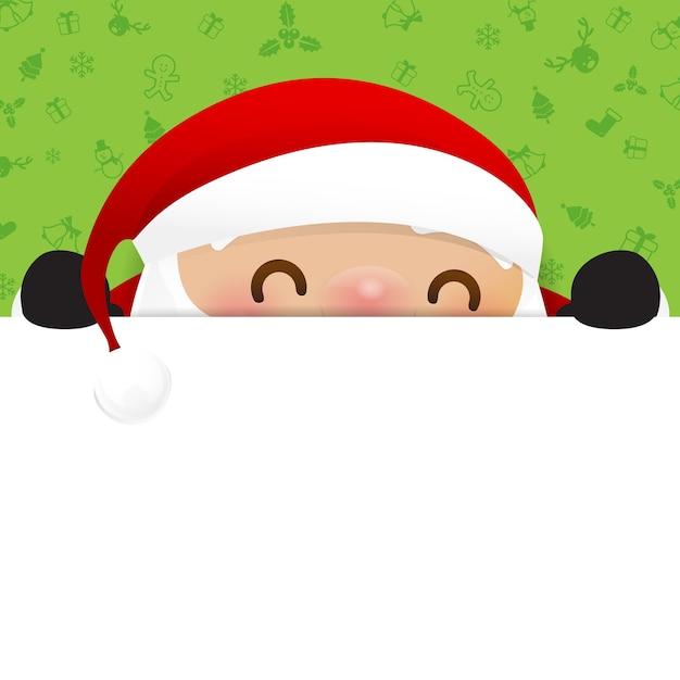 Christmas snowman santa claus cartoon smile Premium Vector
