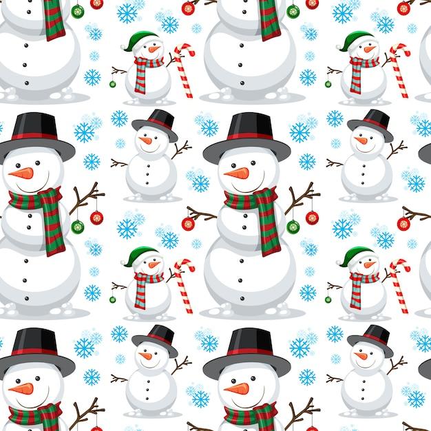 Christmas snowman seamless pattern Free Vector