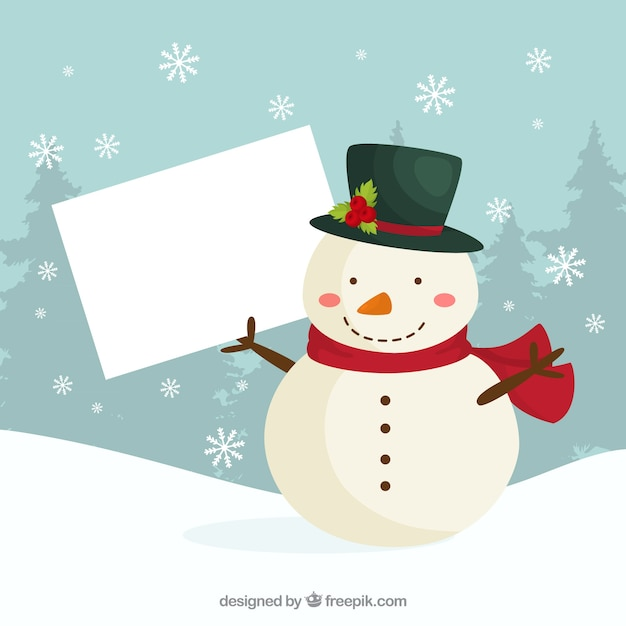 Christmas snowman with blank sign