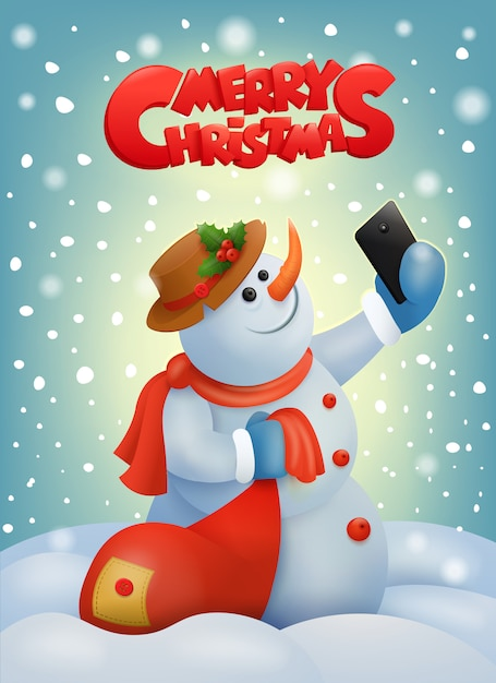Christmas snowman with smart phone making selfie Premium Vector