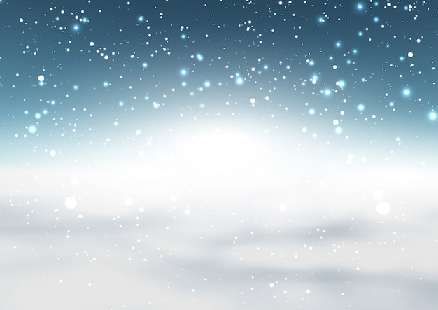 Christmas snowy background Free Vector