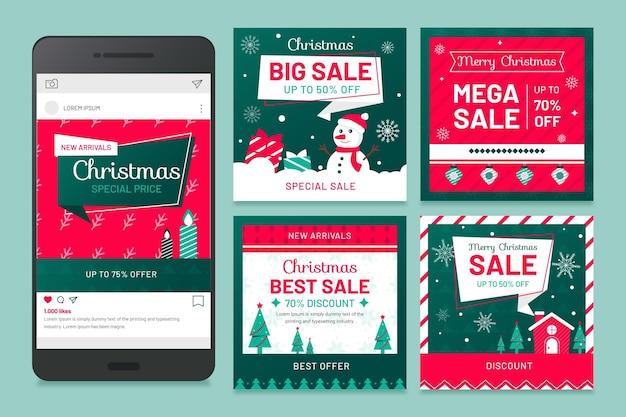 クリスマスのソーシャルメディアの投稿 Premiumベクター