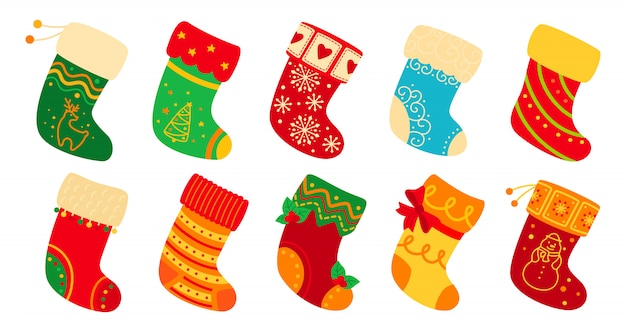 Premium Vector Christmas Socks Flat Set Cartoon Holiday Cute Traditional Colorful And Ornate Stockings Christmas Socks For Gift Decorated Holly And Patterns New Year Design Collection Illustration