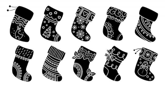Christmas socks flat silhouette set. black glyph cartoon ...