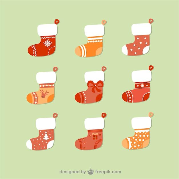 Christmas socks pack Free Vector