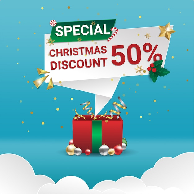 Christmas special discount sale square banner Premium Vector