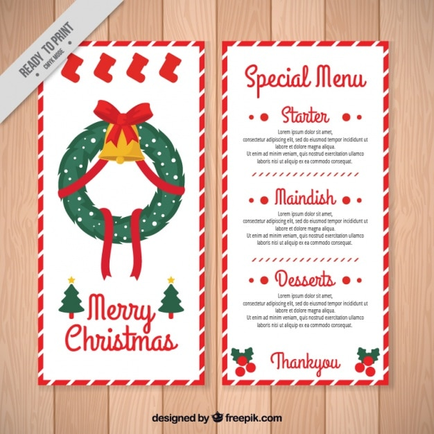 Christmas special menu with floral wreath vector free download christmas special menu with floral wreath free vector stopboris Images