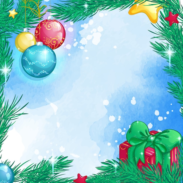 Christmas square background with christmas tree branches, glass balls, gift box Premium Vector