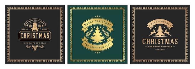 クリスマスの正方形のバナーヴィンテージ活版印刷、華やかな装飾シンボルイラスト Premiumベクター