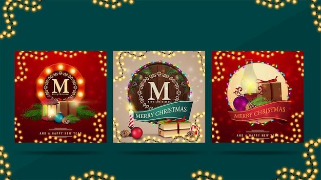 Рождественские квадратные поздравления, украшенные рождественскими элементами и подарками Premium векторы