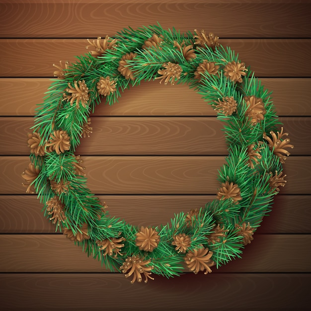Christmas square wooden background with pine wreath. pine branches with needles and cones in garland. high detailed  template. Premium Vector