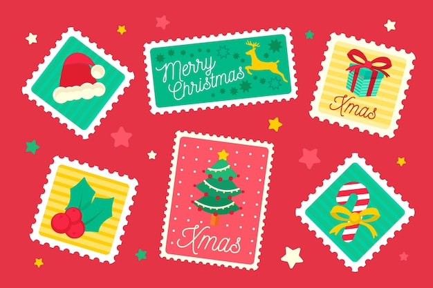 Christmas stamp collection in flat design Free Vector