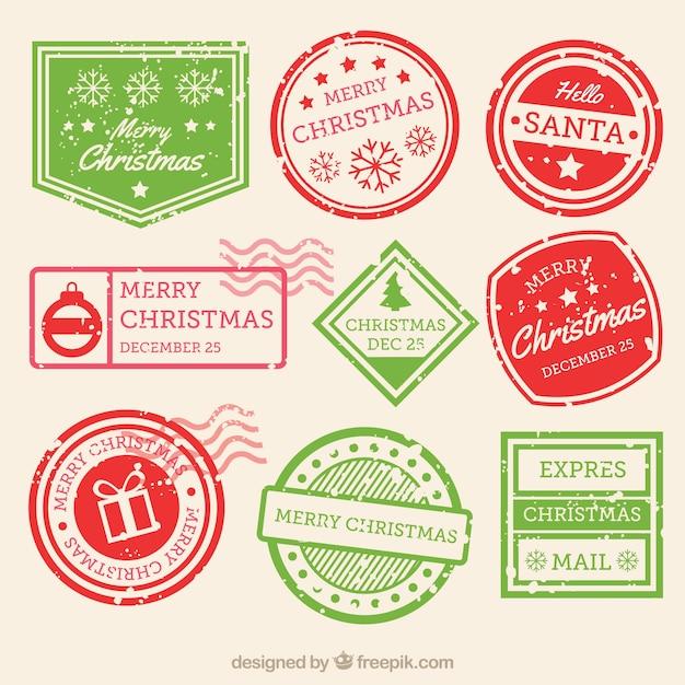 Collezione di francobolli di natale in verde e rosso Vettore gratuito