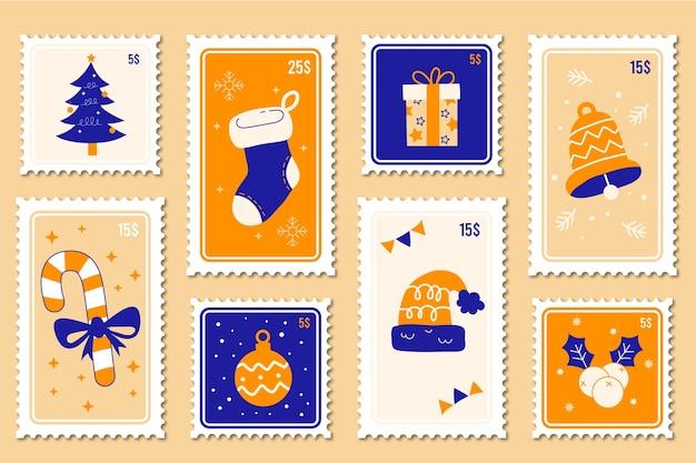 Коллекция рождественских марок в плоском дизайне Бесплатные векторы