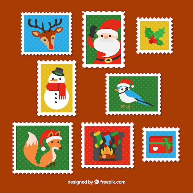 Christmas stamp collection with typical christmas characters