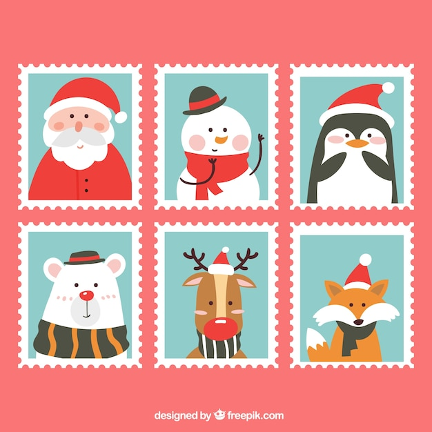 christmas stamp collection free vector - Christmas Stamp