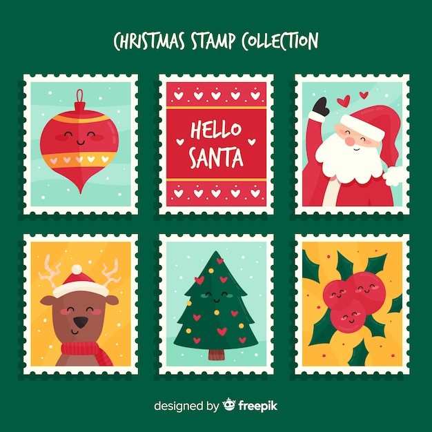 Christmas stamp collection Free Vector