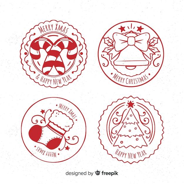 Коллекция рождественских марок Бесплатные векторы