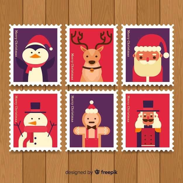 Christmas stamp pack Free Vector