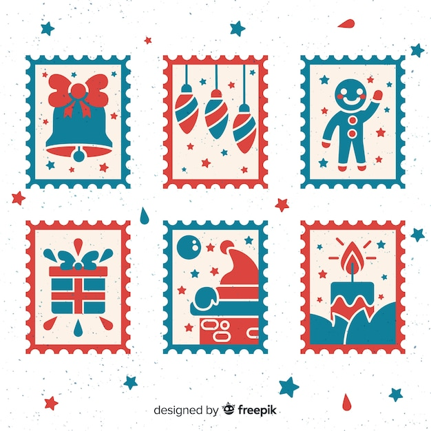 Christmas stamps collection Free Vector