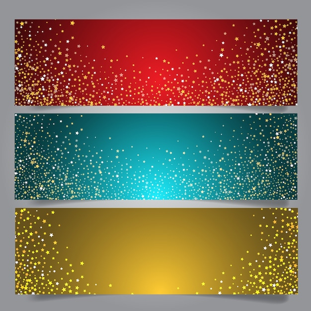 Christmas star banners Free Vector