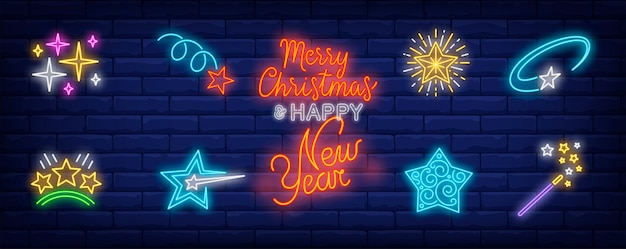 Christmas stars symbols set in neon style Free Vector
