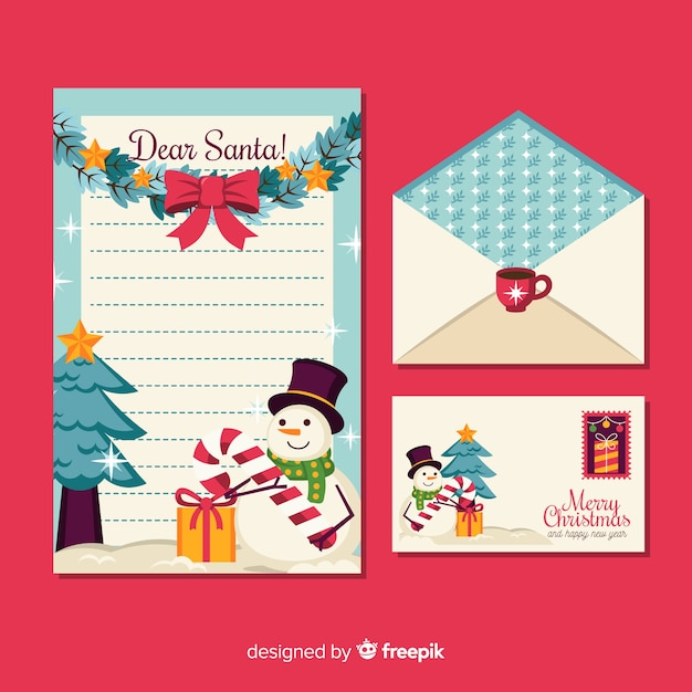 Christmas stationery in flat design Free Vector
