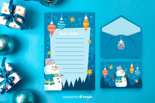 Christmas stationery template in flat design Free Vector