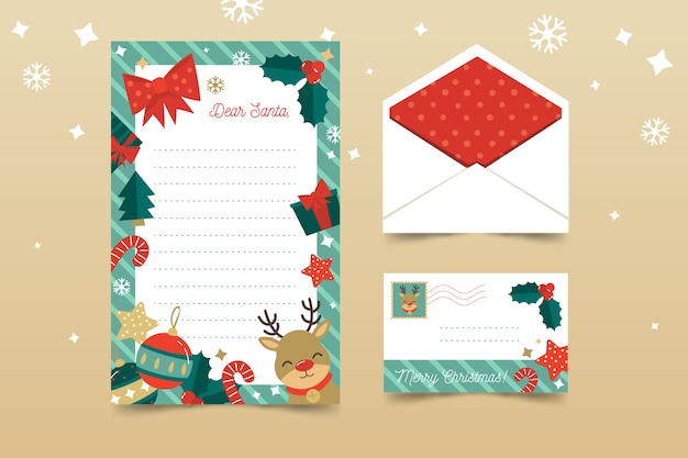 Christmas stationery template flat design Free Vector
