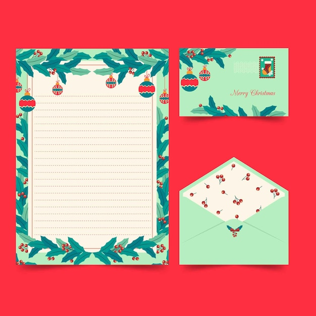 Christmas stationery template flat style Free Vector