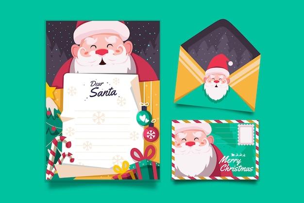 Рождественский шаблон канцелярских товаров в плоском дизайне Бесплатные векторы