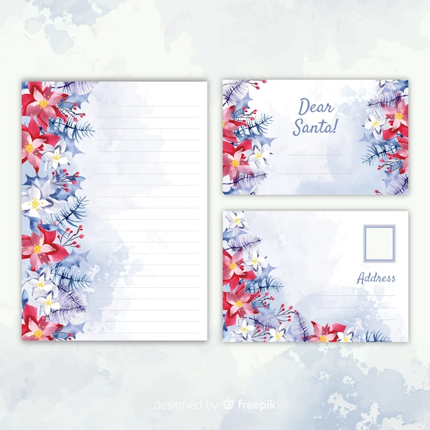 Christmas stationery template watercolor design Free Vector
