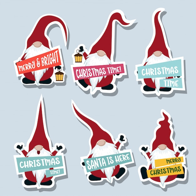 Christmas stckers cllection with gnomes Premium Vector
