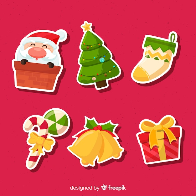 Christmas sticker collection with santa Free Vector