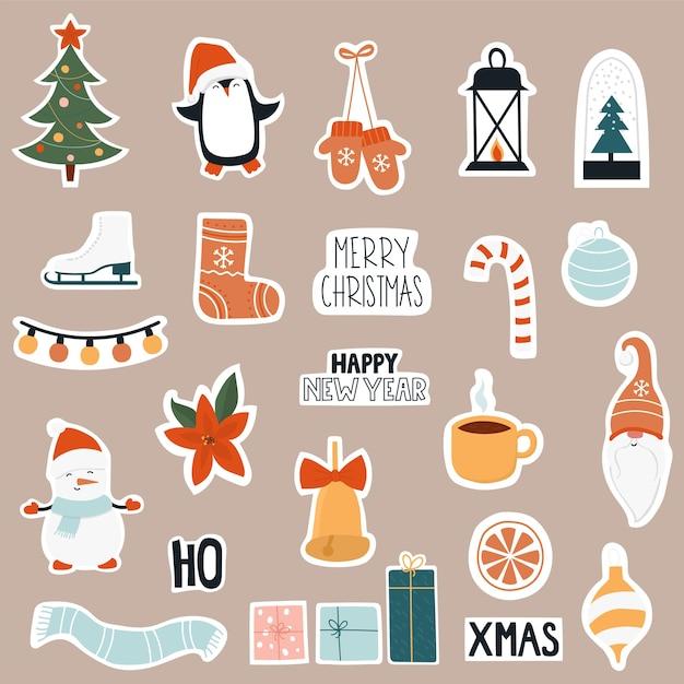 Рождественский набор иконок стикер. Premium векторы