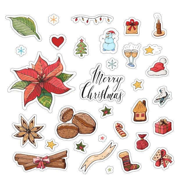 Christmas sticker set Premium Vector