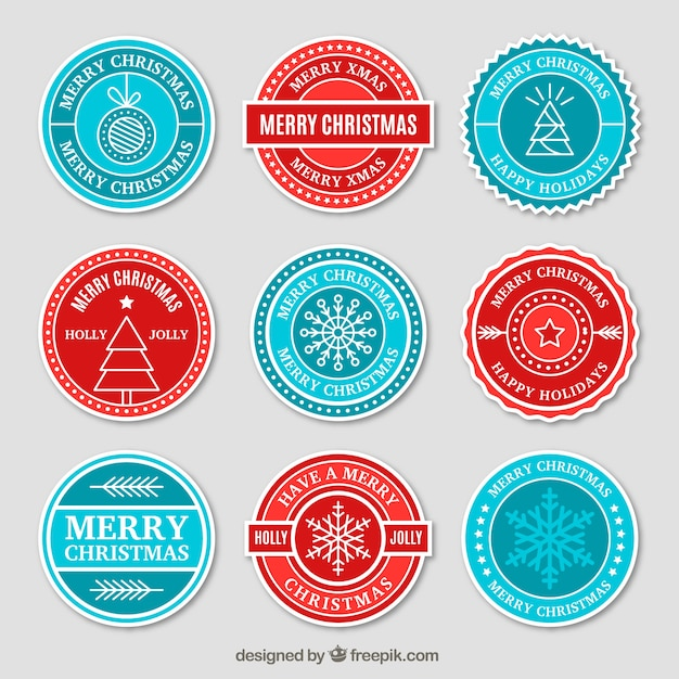Christmas stickers collection in red and blue Free Vector