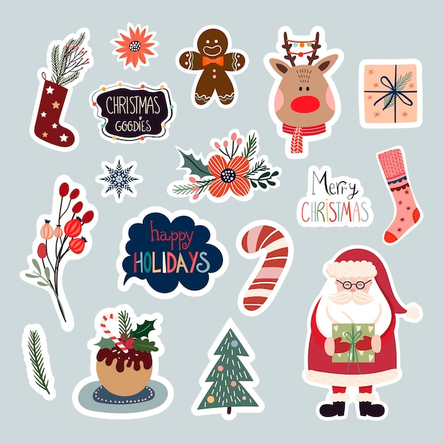 Christmas stickers collection with cute seasonal elements Premium Vector