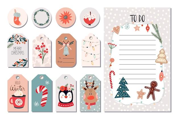 Набор рождественских наклеек, зимние ярлыки, измененные ярлыки и список дел Premium векторы